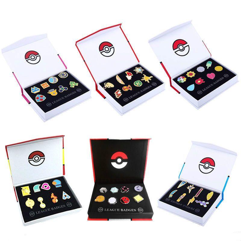 Pokemon Cosplay Indigo League Badges Kanto Gym Set of 8 Metal Pins Box