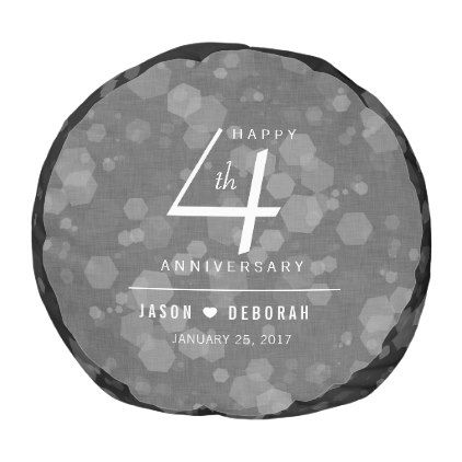Elegant 4th Linen Wedding Anniversary Celebration Pouf
