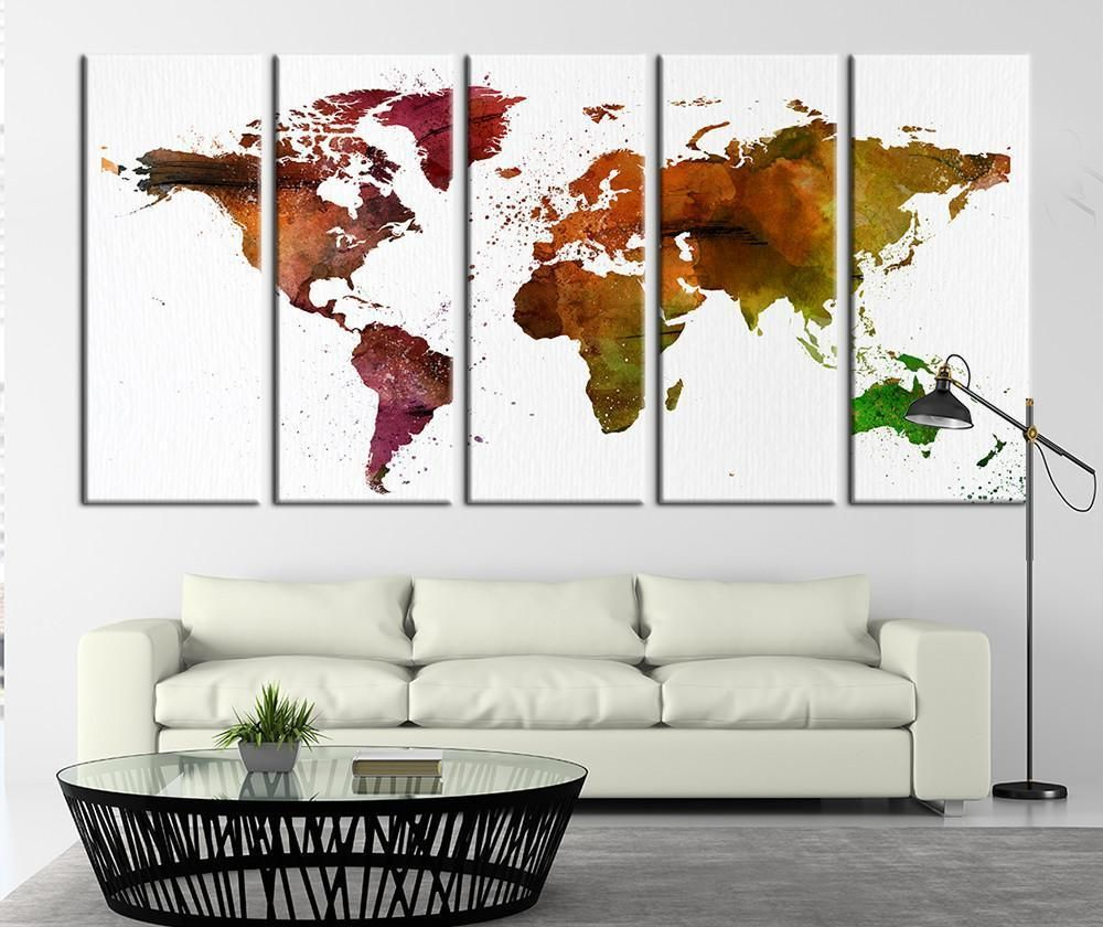 Photo of Browny Watercolor World Map Canvas Print Browny World Map Print for Wall Decor No:014 – Each Panel: 10×24