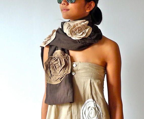 Chic floral Scarf - Dark Brown Khaki #Handmade #Lovestyle