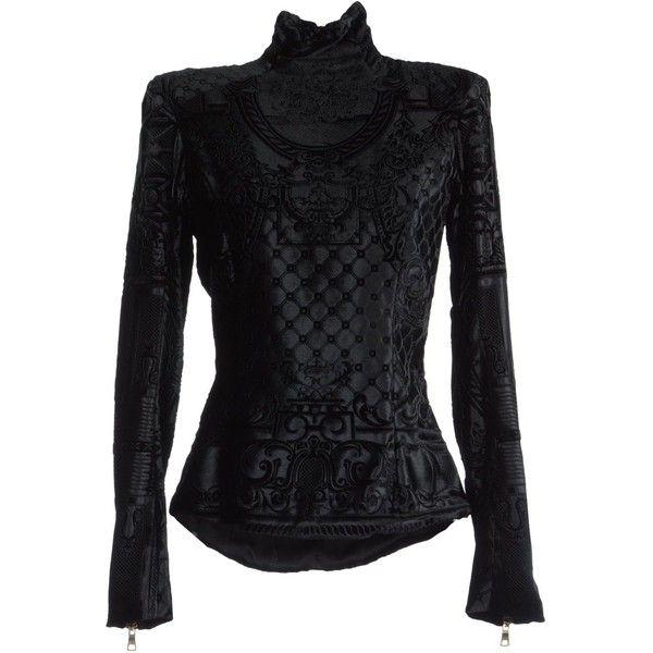 Balmain Blouse ($485) ❤ liked on Polyvore featuring tops, blouses, shirts, jackets, balmain, black, zipper blouse, shirt blouse, balmain shirt and zip top
