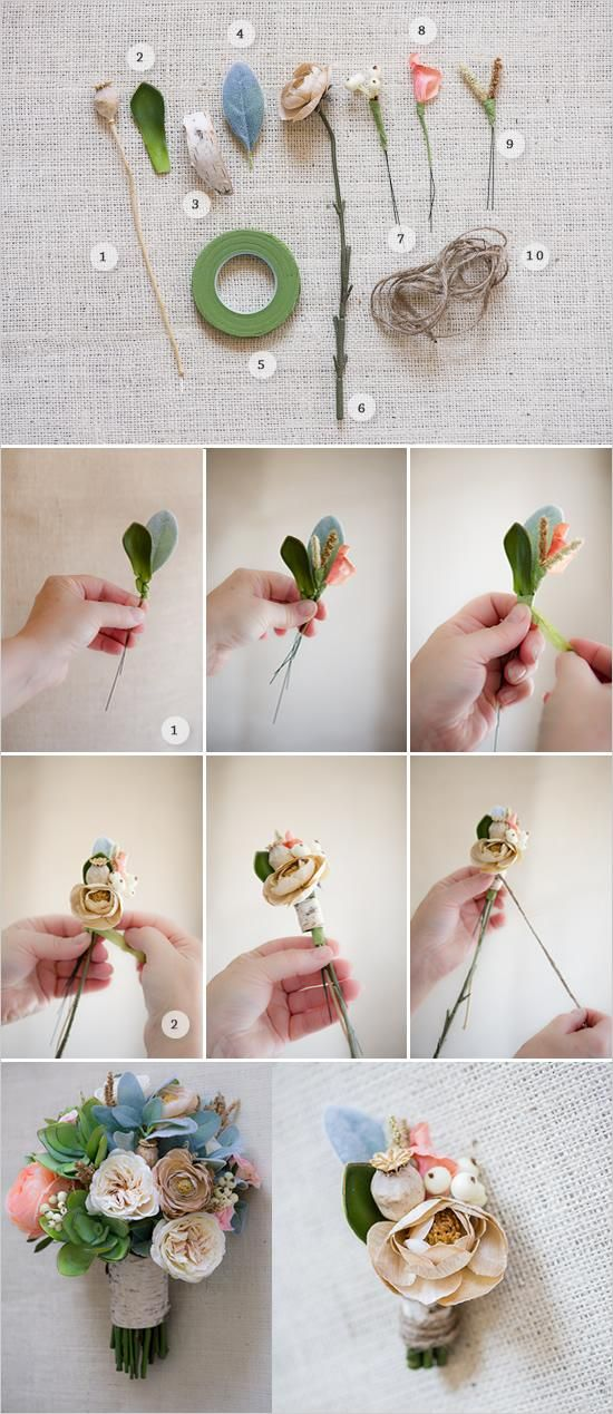 Diy boutonniere diy wedding ideas decoration flowers maybe with silk flowers and some variation how to make a boutonniere poppy pods succulents birch bark lambs ear leaf flower tape ivory garden rose mightylinksfo