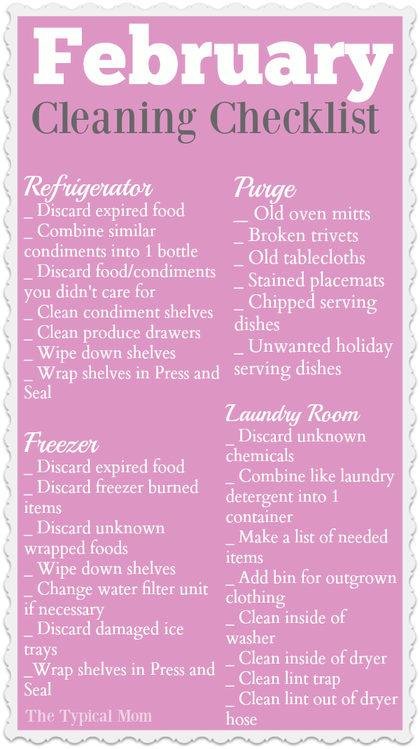 February cleaning checklist you can print out and focus on an area in your house to clean and purge. Free cleaning printable you can check off when done, helps so nothing is forgotten!