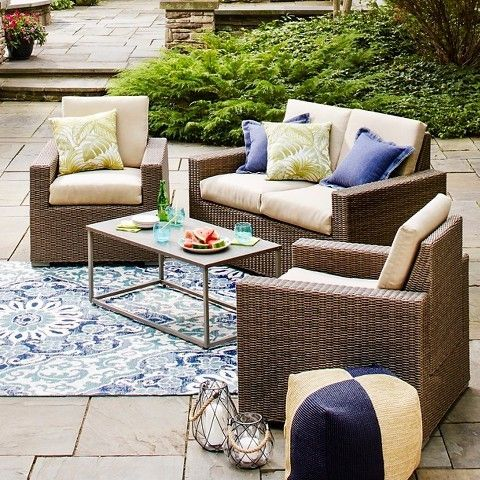Threshold Heatherstone 4 Piece Wicker Patio Conversation Furniture Set
