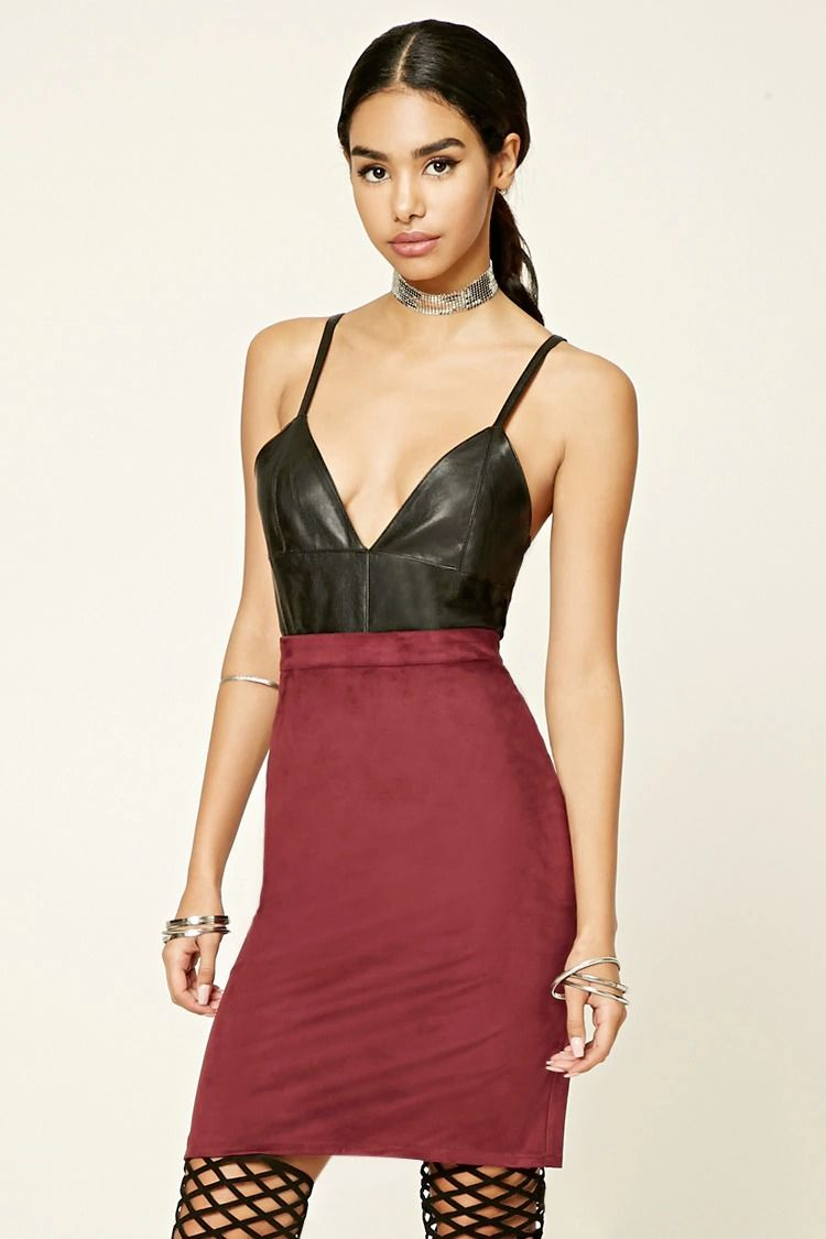 Style deals this faux suede pencil skirt features an offcenter