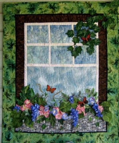 Flower Art Quilt with Window Box Three Dimensional Wall Hanging by UniquelyJenQuiltCreations on ArtFire