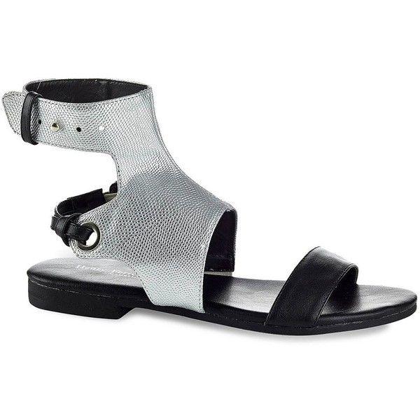Comfortable Henry Ferrera GBG Women's Ankle-Cuff Sandals Black Silver