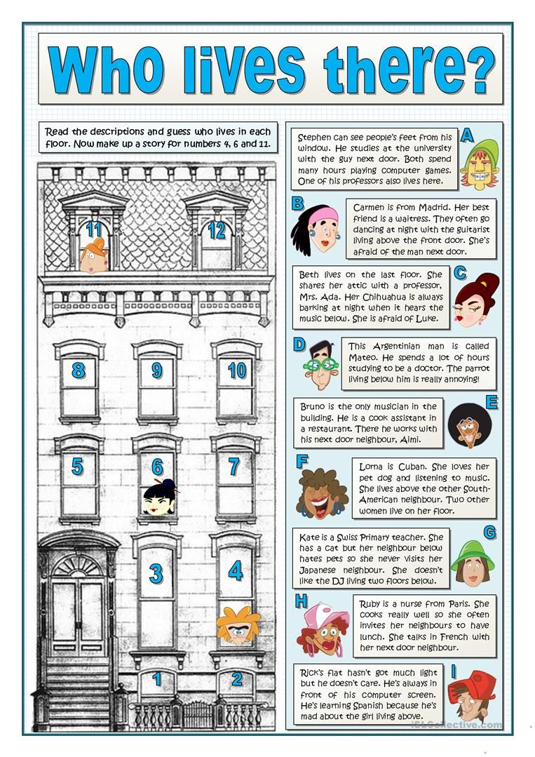 Who Lives There Worksheet Free Esl Printable Worksheets Made By Teachers English Reading Esl Reading Teaching English