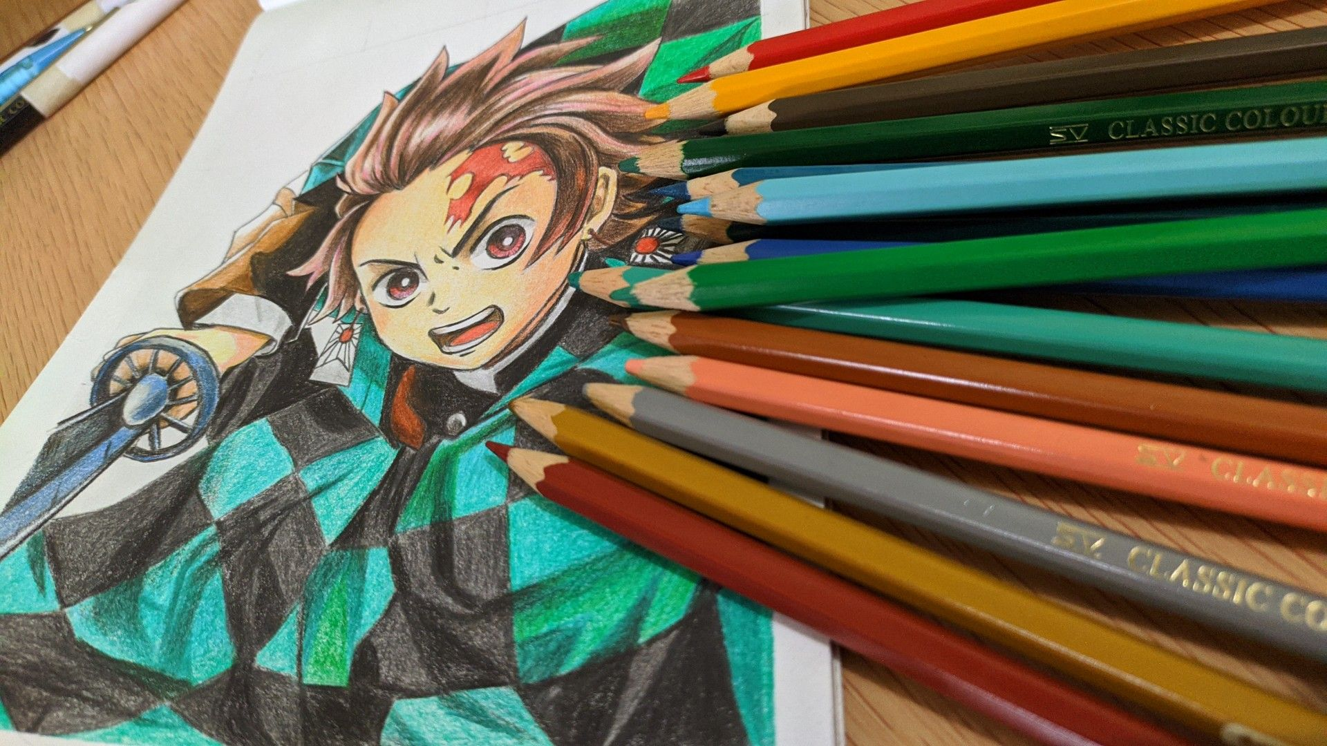 Tanjiro Kamado Colored Pencil Drawing Tutorial Realistic Face Drawing Art