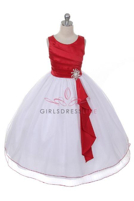 6315f6bab4 Red White Satin Surplice Top with Double Layer Tulle Flower Girl Dress  CB-0303-RD on www.GirlsDressLine.Com