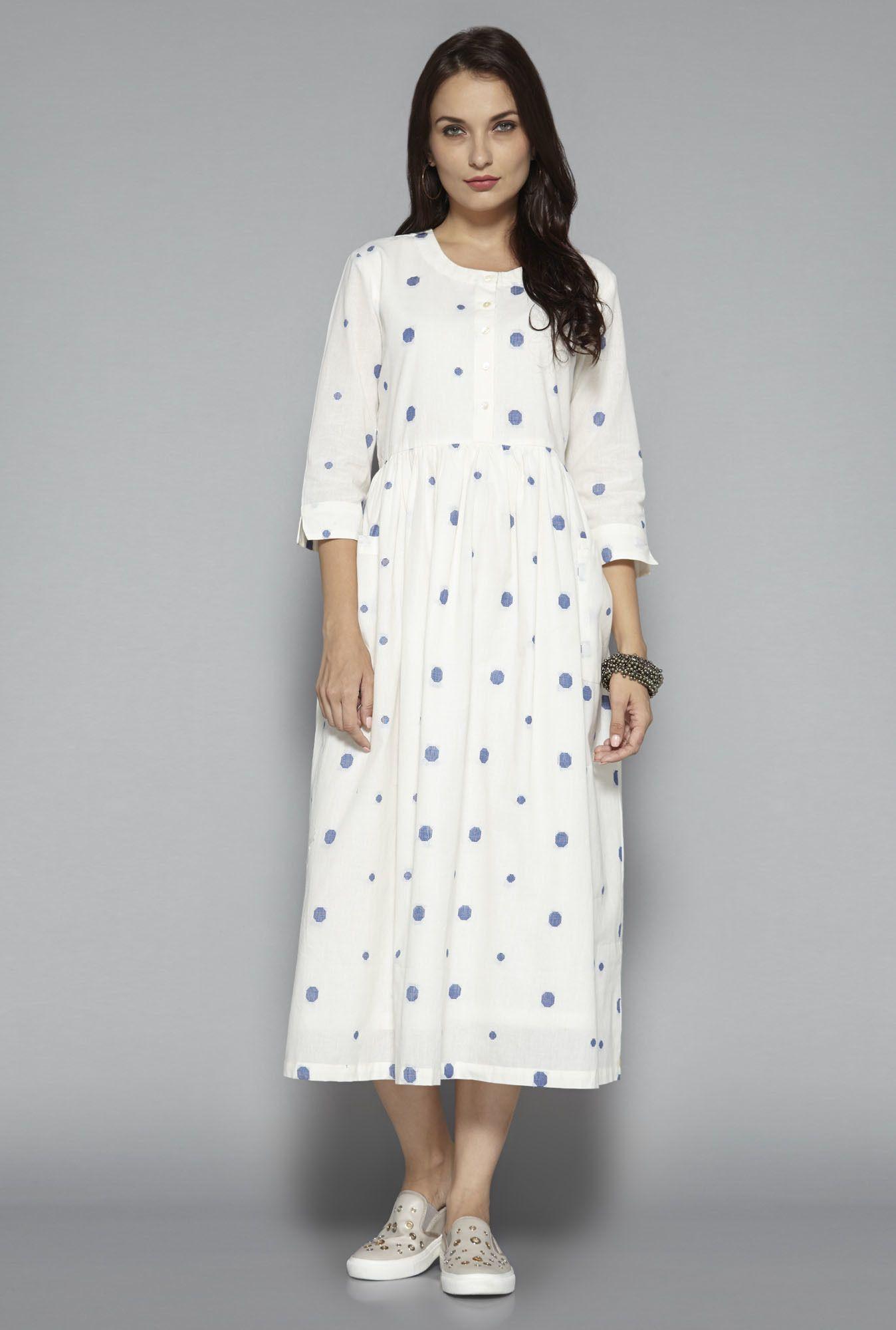 Bombay Paisley by Westside Off White Polka Dot Dress | Kurta | Pinterest