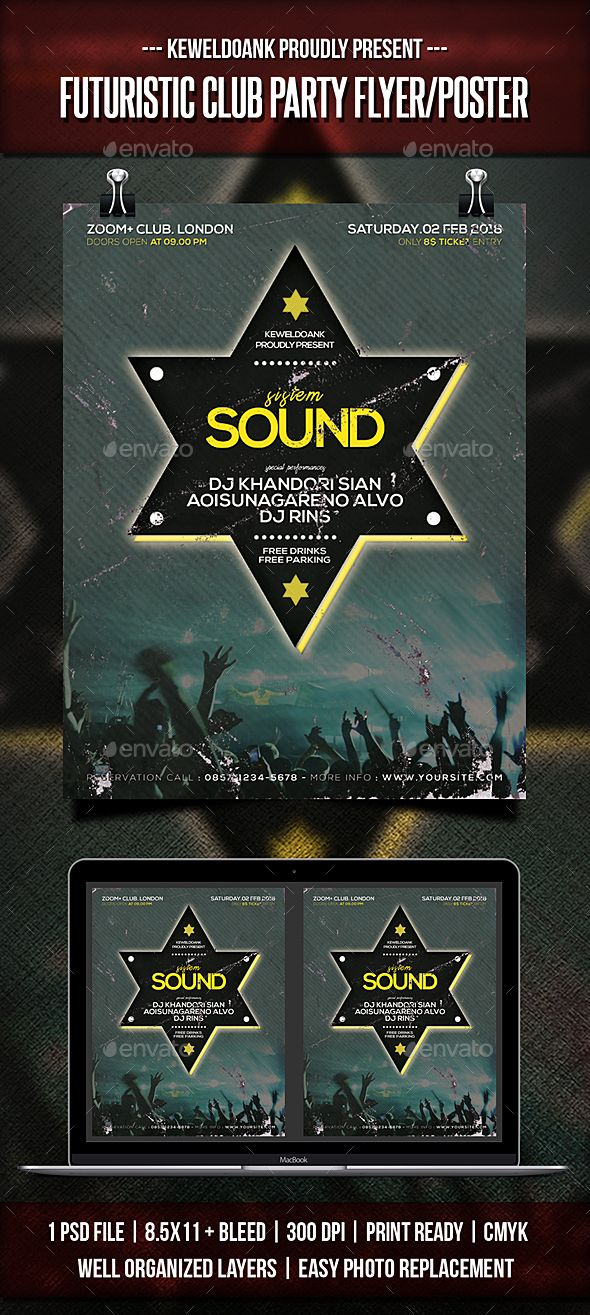 Futuristic Club Party Flyer / Poster