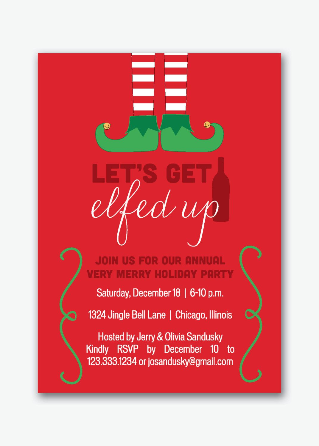 Gmail themes holiday - Let S Get Elfed Up Holiday Party Invitation By Sstremmingdesigns