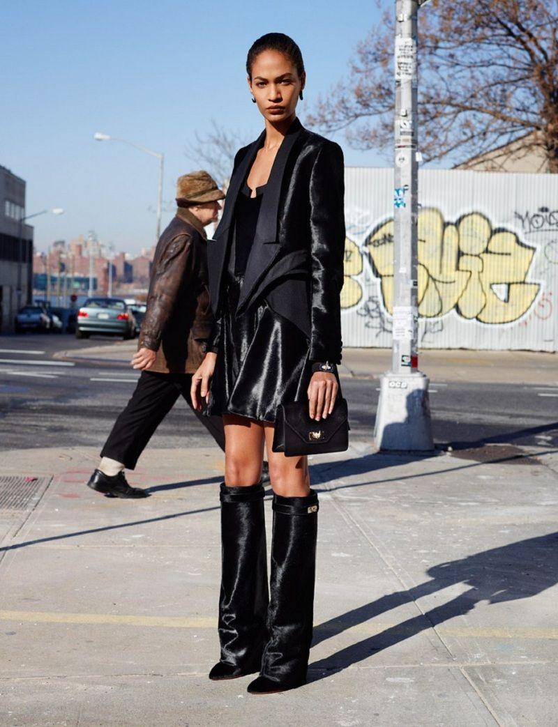 Knee Leather Vs Zara Givenchy Street Style Stivali Boots Wedge TwCXqOn