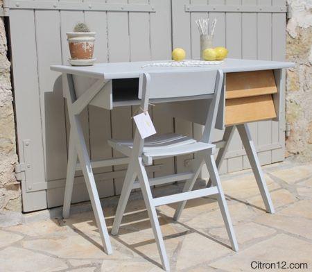 bureau vintage pieds compas et sa chaise citron12com Pinterest