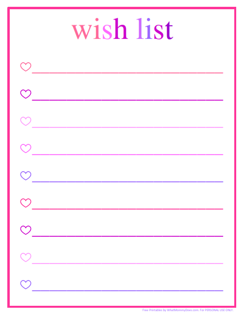 pretty list pink & purple