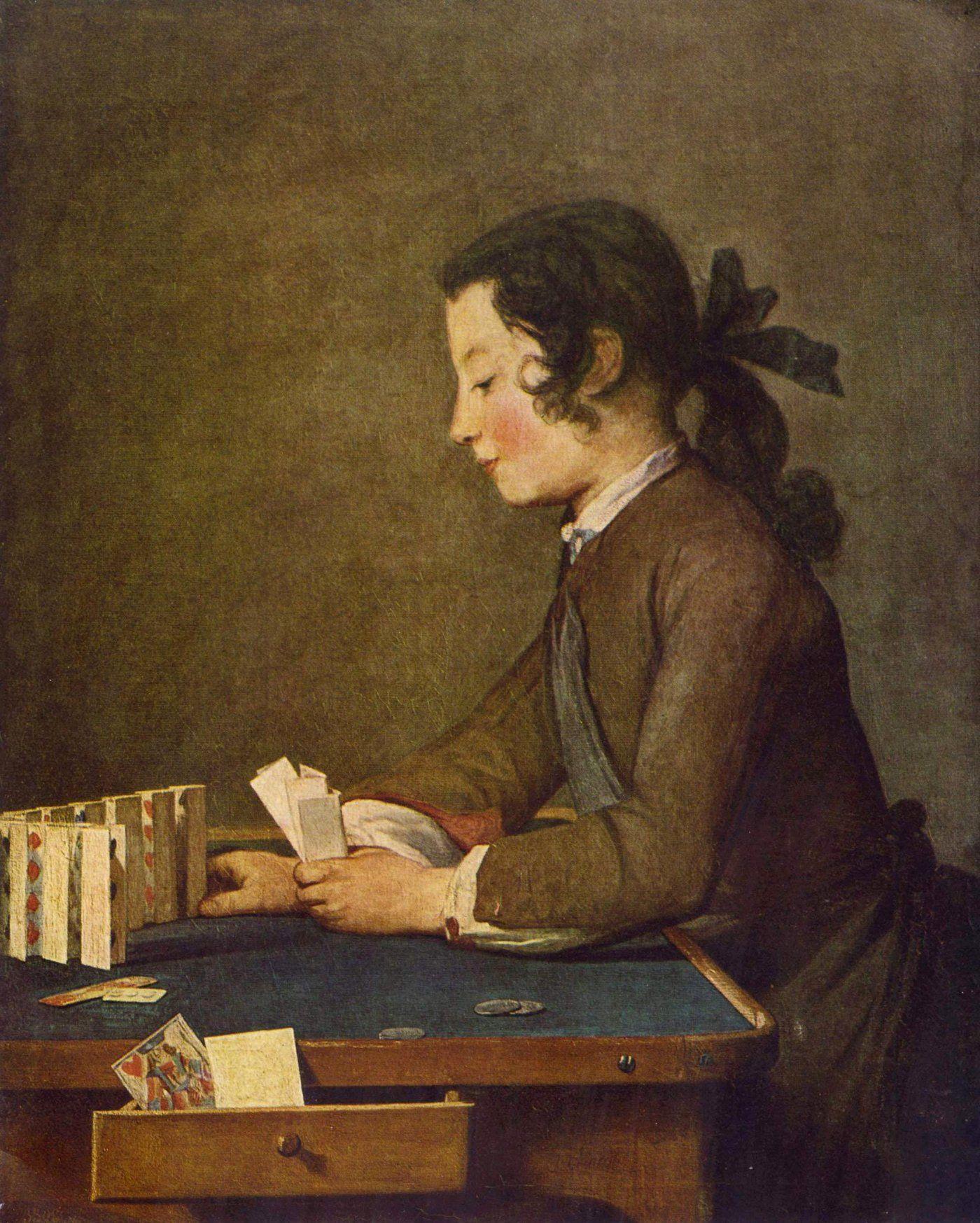 Jean-Baptiste-Simeon Chardin - Muchacho construyendo un castillo de ...