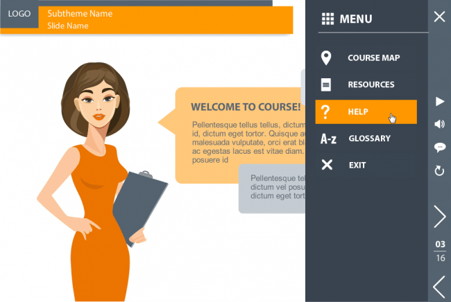 Storyline course template for e-learning  Cool custom course