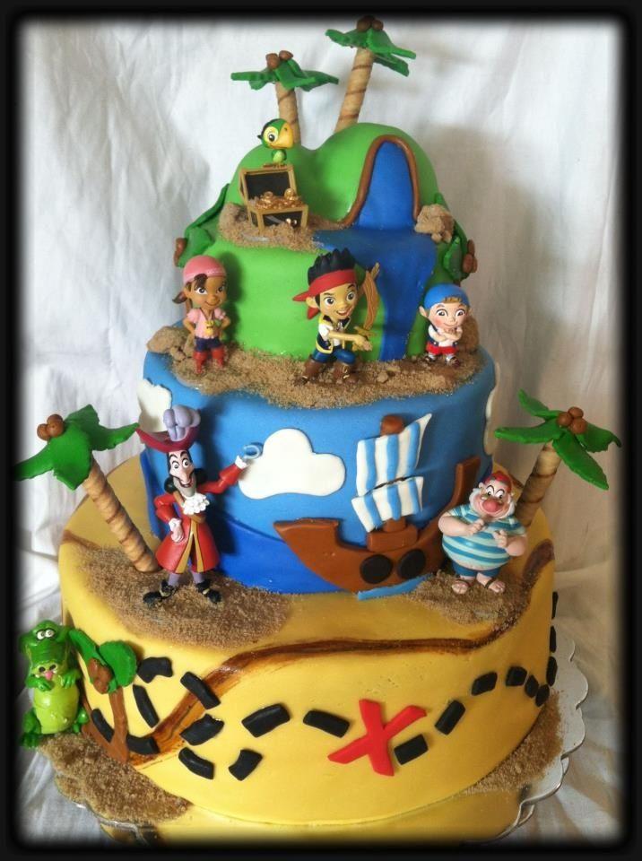 Jake and the Neverland Pirates Custom Fondant Birthday Cake - www.facebook.com/candacemakescakes
