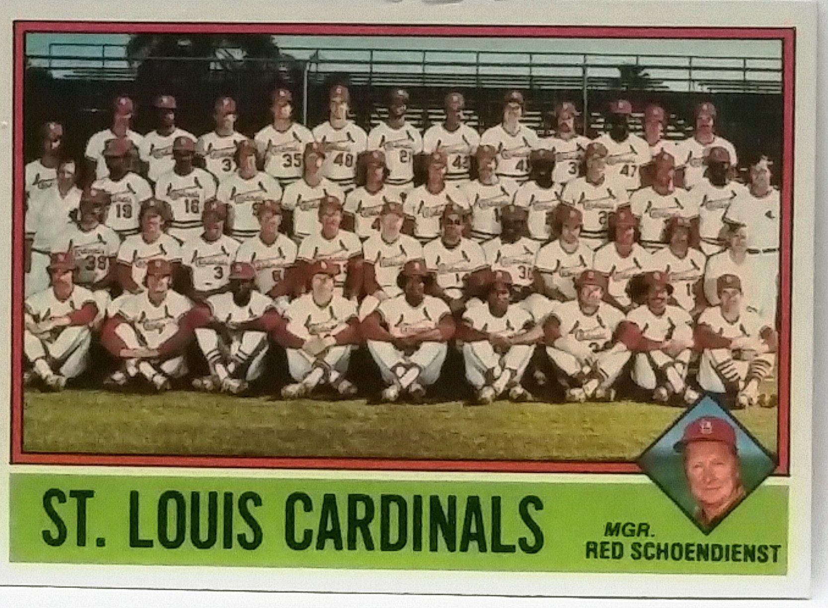1976 Topps #581 St. Louis Cardinals Team Card, 9 MINT, w/Brock, Hernandez, Hrabosky, Denny, Schoendienst