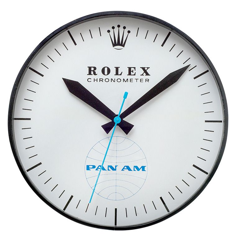 Rolex Licensed Pan Am Extra Large Wall Clock Circa 1960 Extra Large Wall Clock Clock Wall Clock