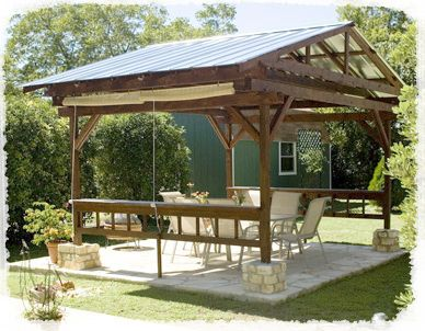 Pavillion construction underway in our backyard --- this is the idea of ours but it will also house a couple grills with a countertop and six barstools :)
