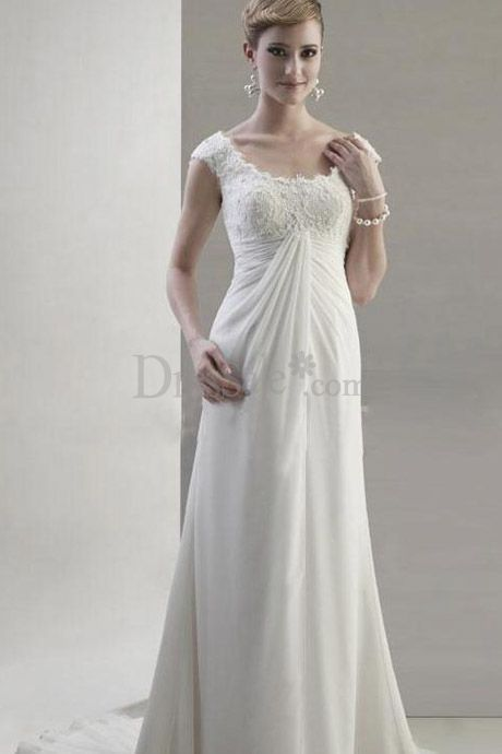 French Inspired with Empire Waist Elegant Column Wedding Dress with ...