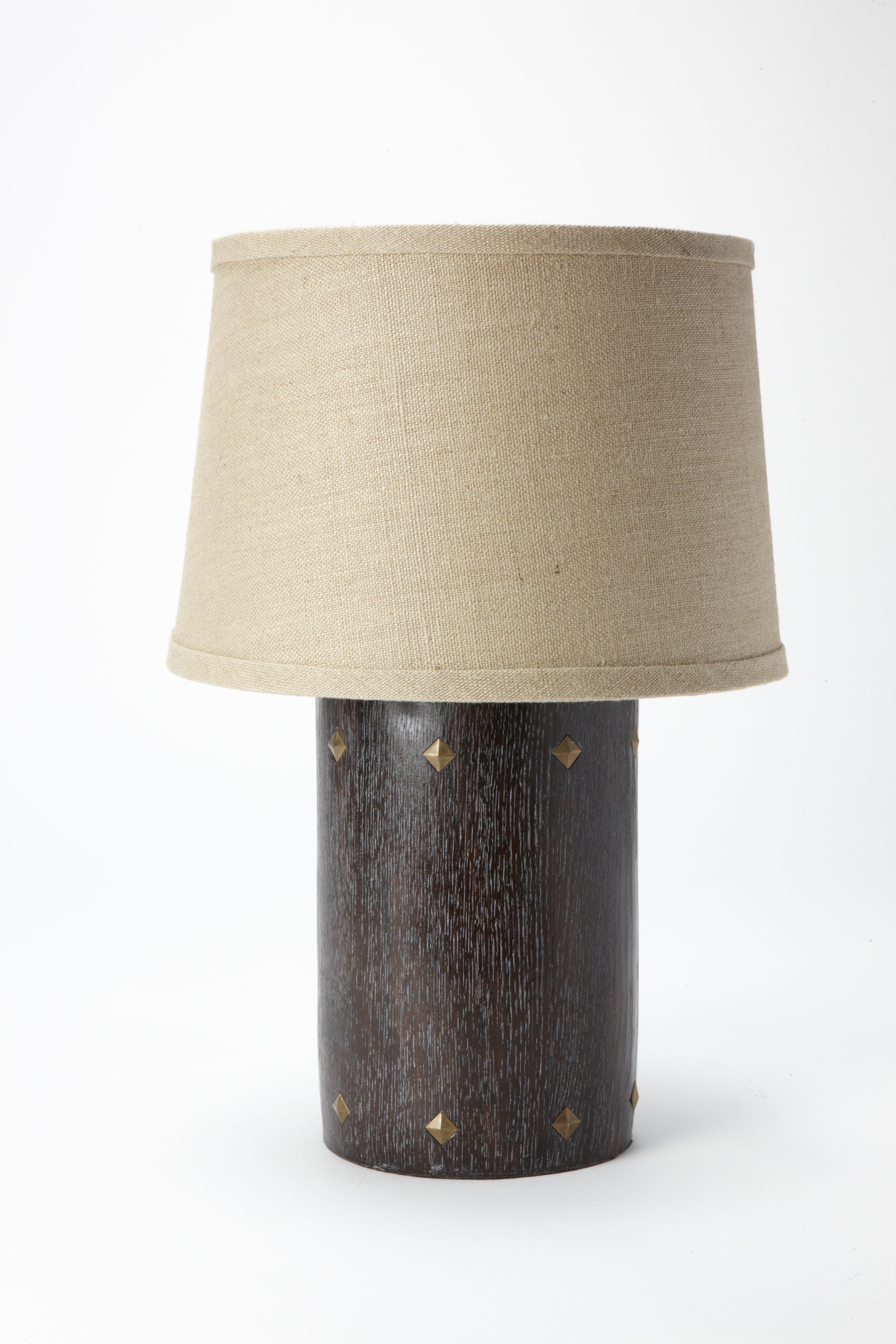 Nathan Santos Berkus Studded Table Lamp With Natural Shade Linen
