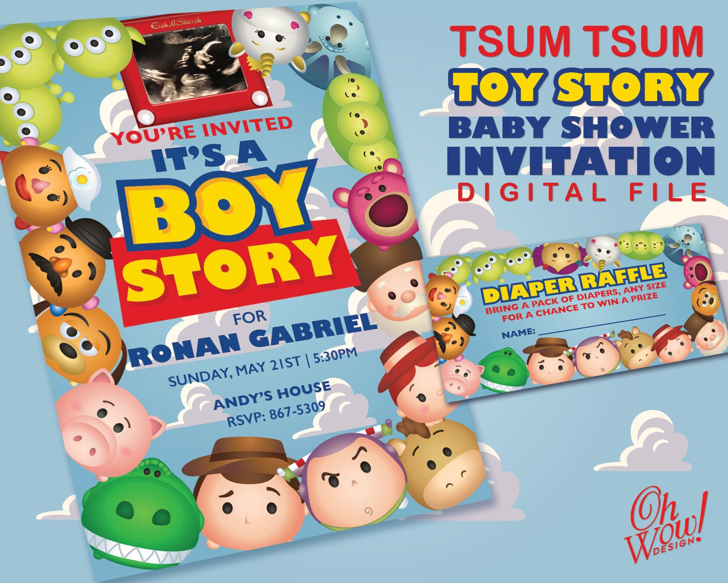 Tsum Tsum Toy Story Theme Baby Shower Invitation With Diaper Raffle