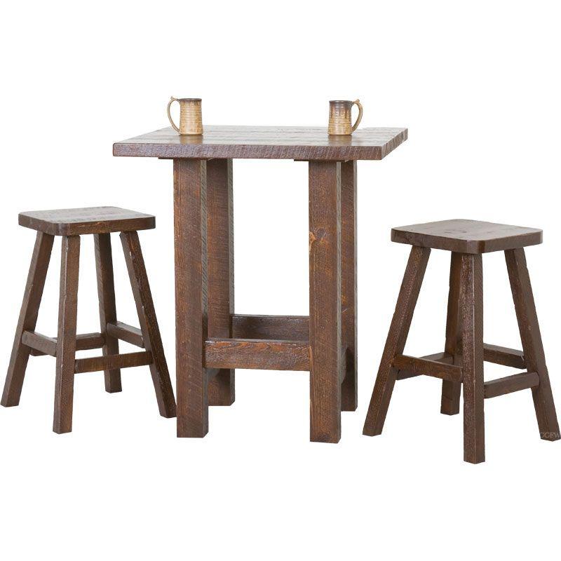rustic timbers barnwood pub table set