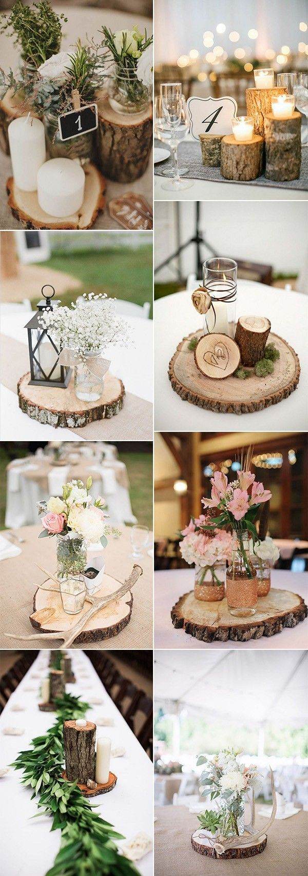 Country wedding decoration ideas  country rustic wedding centerpiece ideas with tree stumps