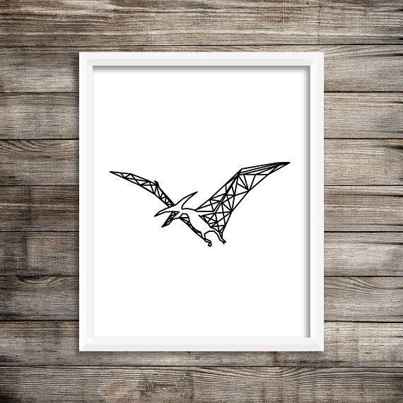Geometric Dinosaur Art Print - 8x10 Dinosaur Printable, Pterodactyl Print, Printable Art, Art for Boys, Dinosaur Art, Decor, Pterodactyl art
