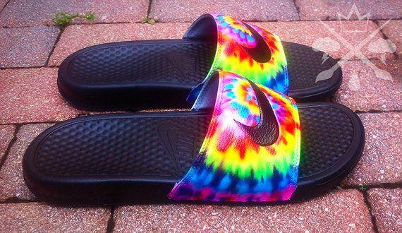 f5214dbabf10 Nike Custom Trippy Tie Dye Psychedelic Hippy Swirl Benassi Swoosh Slides  Sandals Flip flops