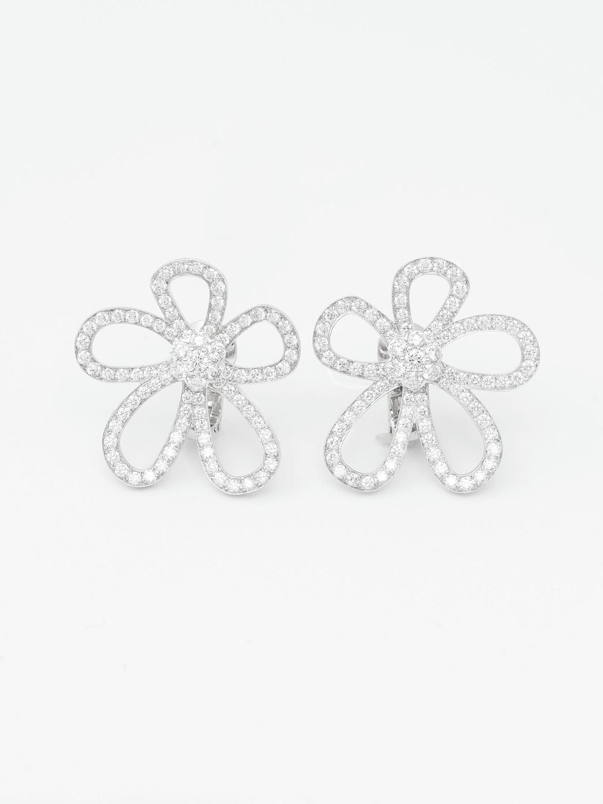 a171c9099a6 Van Cleef   Arpels 18K White Gold Flower Lace Large Ear Clips at London  Jewelers!