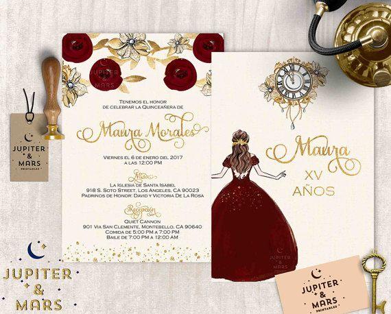 Texto De 15 Anos: Gold Burgundy Quinceañera Invitation Quinceanera