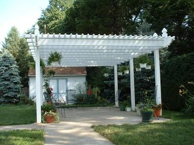 Pergola Next To Scren Porch Freestanding Vinyl Pergola