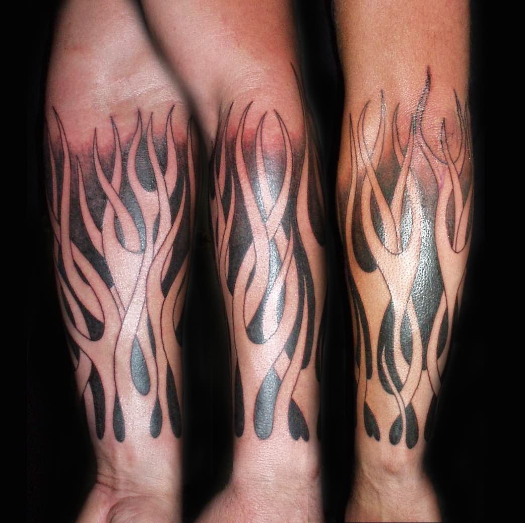 Tribal Flames Tattoos On Arm - http://bit.ly/1KPwClp | Arm Tattoo ...