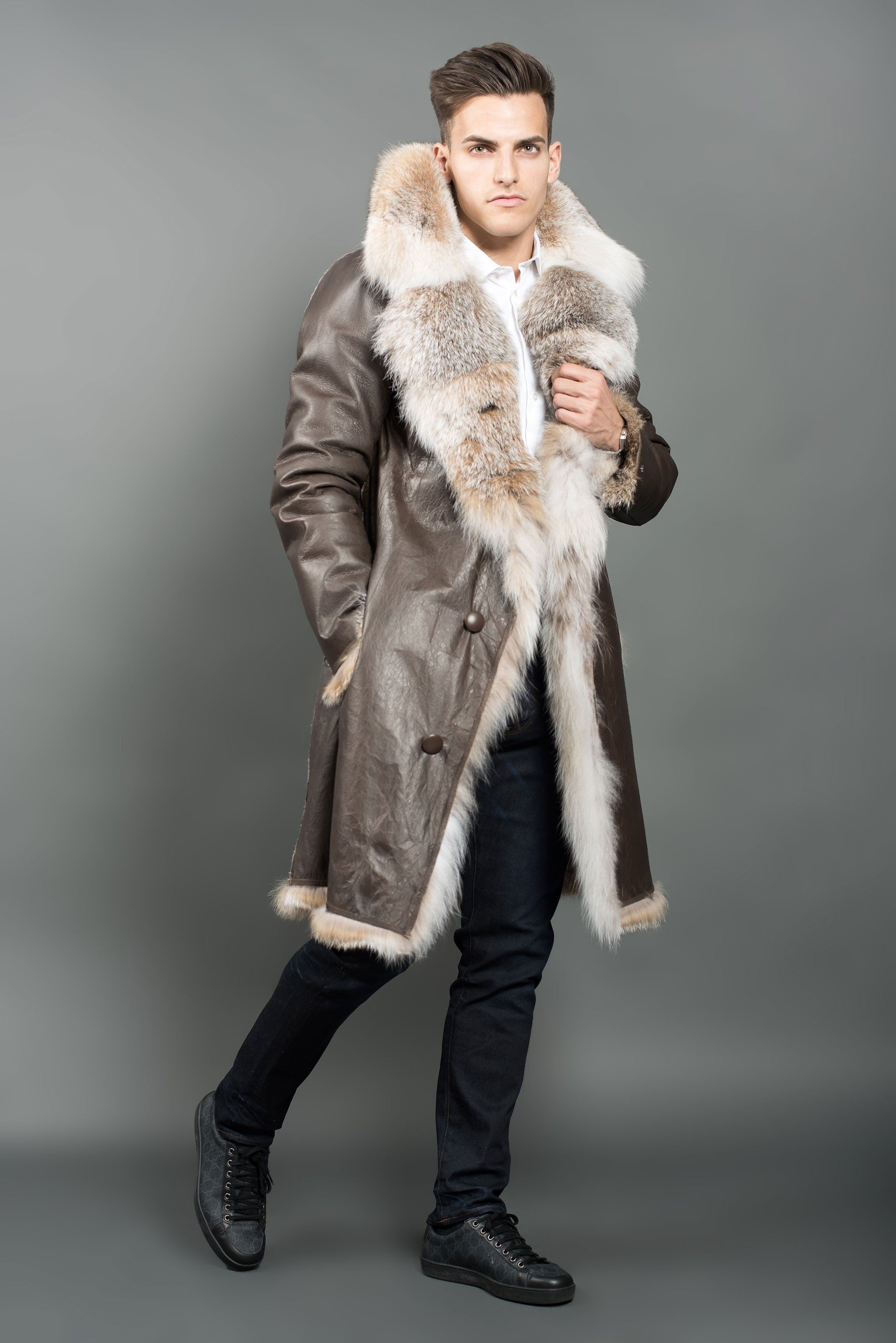 62b577effd2 Reversible Canadian Lynx Fur Coat