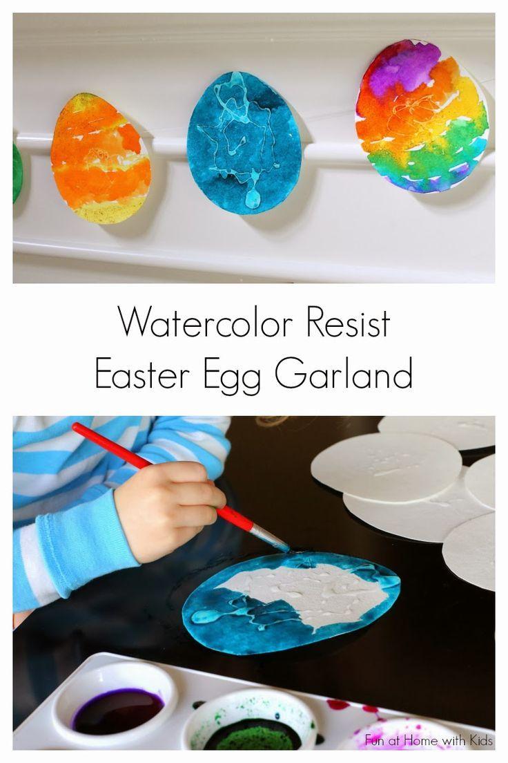 Watercolor Resist Easter Egg Garland   - Resist art for kids -