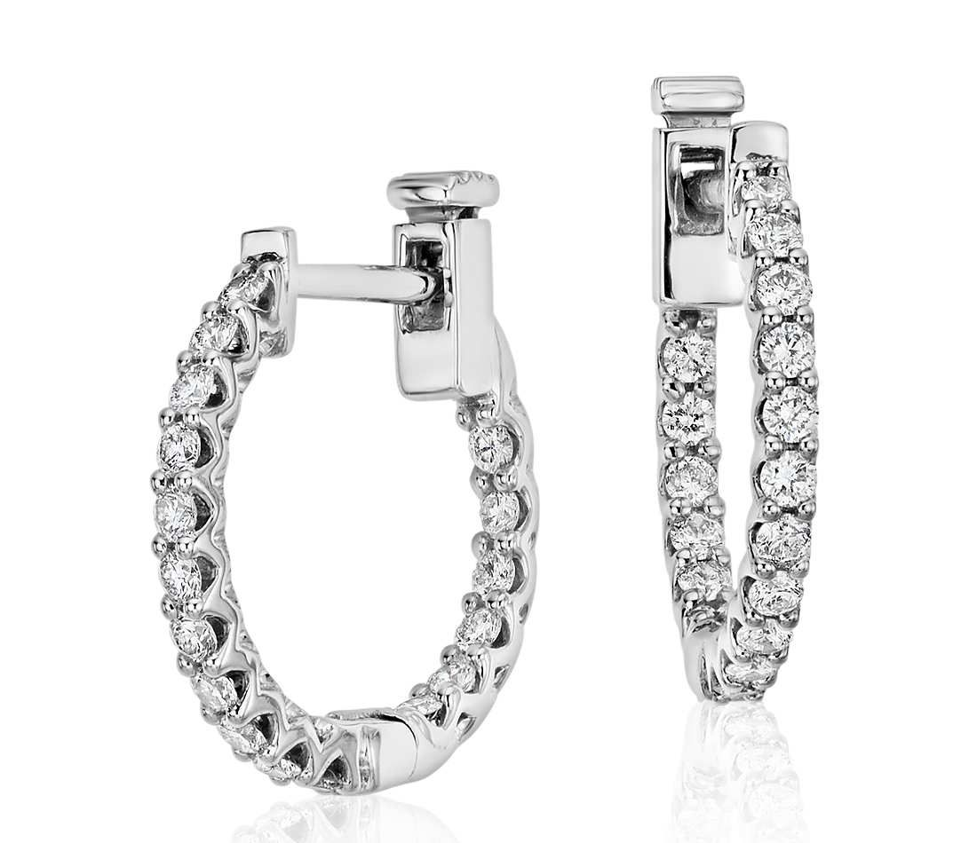 Clic Diamond Hoop Earrings In 18k White Gold 1 2 Ct Tw