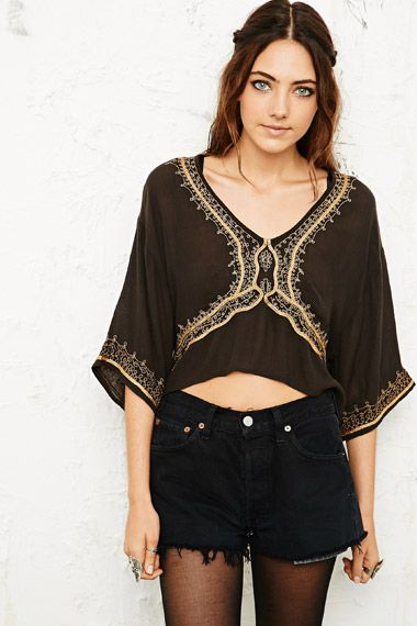 Ecote Embroidered Tightrope Top at Urban Outfitters