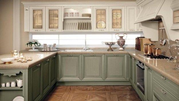 idee per arredare una cucina classica - cucina bianca e verde ... - Cucina Classica Bianca