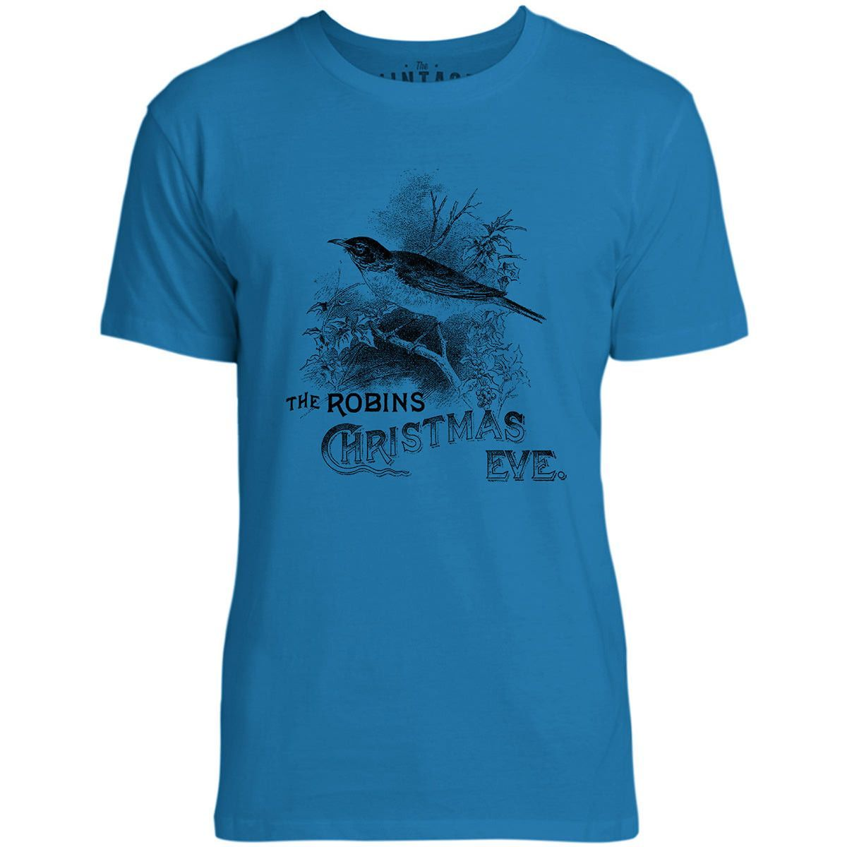 Mintage Christmas Robin Mens Fine Jersey T-Shirt (Cobalt)