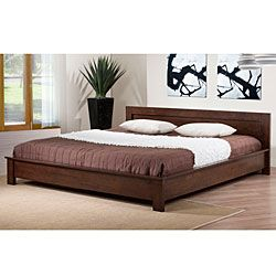 alsa deep brown king platform bed by i love living - Wood King Size Bed Frame