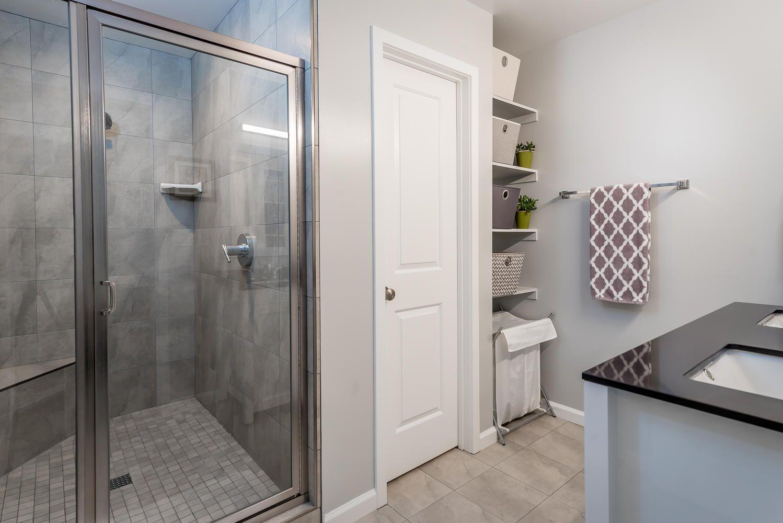 agreeable gray bathroom. Master Bathroom  Semi Frameless Shower Door Emser Tile Sherwin Williams Agreeable Gray