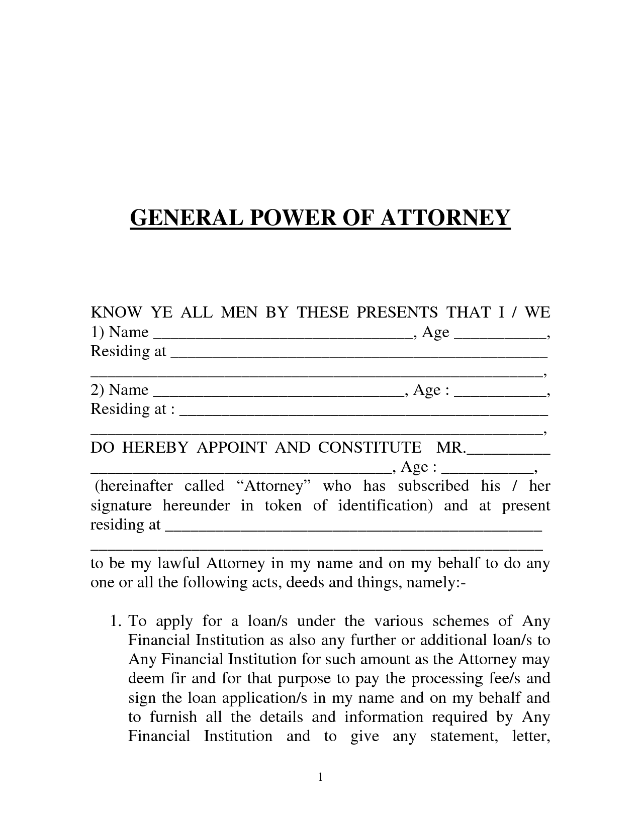 Power Of Atttorney Template  General Power Of Attorney Form India