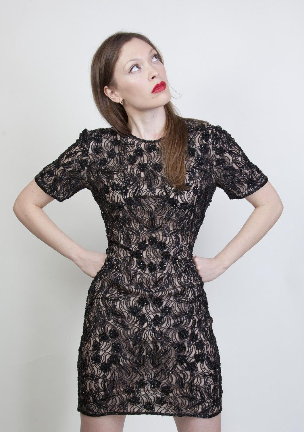 Sequin fashion vintage black beaded sequin overlay illusion lace