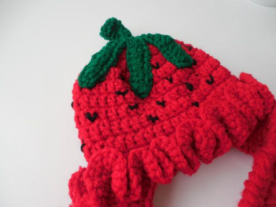 Erdbeere Baby Hut Ear Flap Hut Erdbeere von ShelleysCrochetOle ...