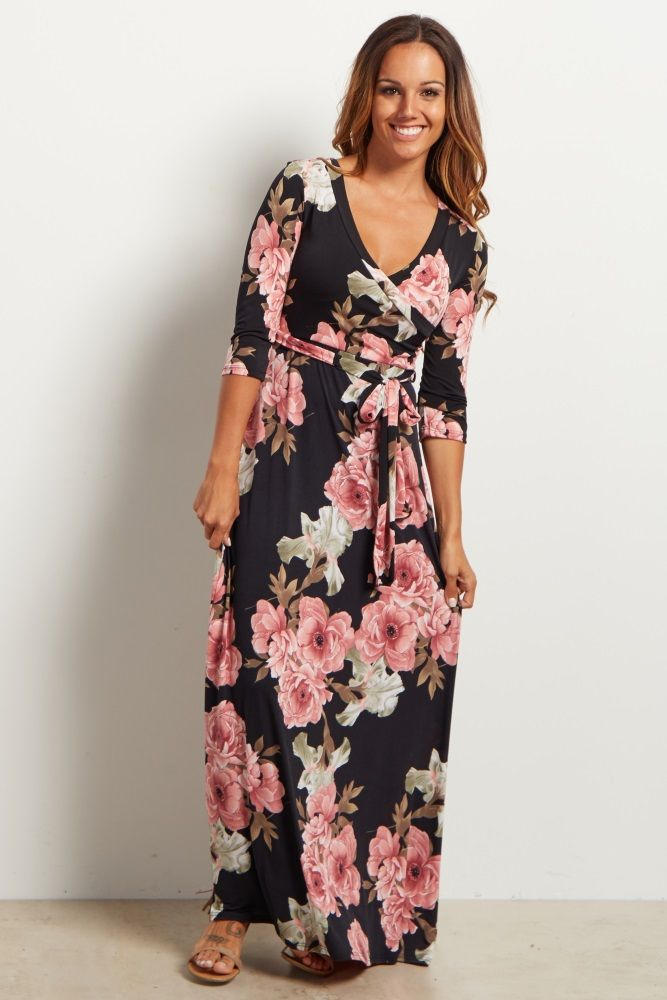 c3d2961affb Black Floral Sash Tie Maxi Dress