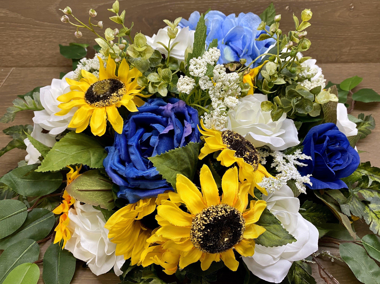 Photo of Sunflower Wedding Centerpiece, Sweetheart Table Flowers, Blu…